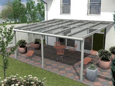 Aluminium en of glazen terrasoverkapping op maat voor tuin of terras - Overdekt terras in aluminium ...